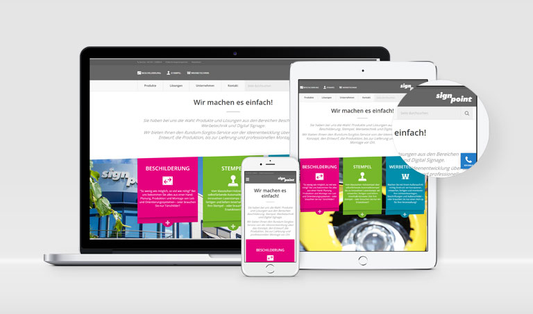 Website Relaunch signpoint: durch goldorange Internetagentur aus Hannover
