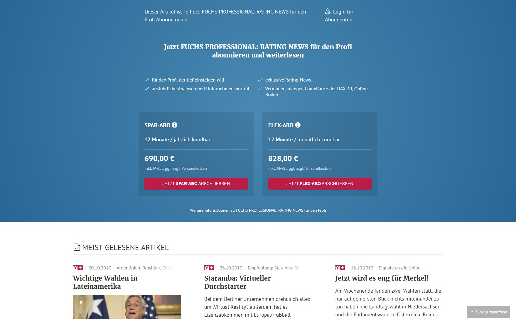 Paywall Paid Content Website Fuchsbriefe