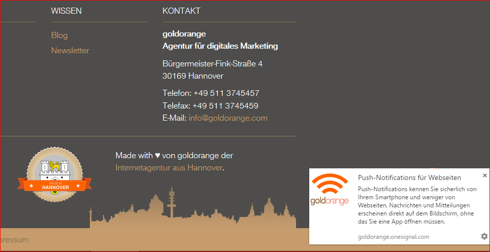 Push Notifications auf Website als Nachricht im Browser